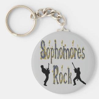 College-Student im 2. Jahren-Felsen - Gitarristen Standard Runder Schlüsselanhänger