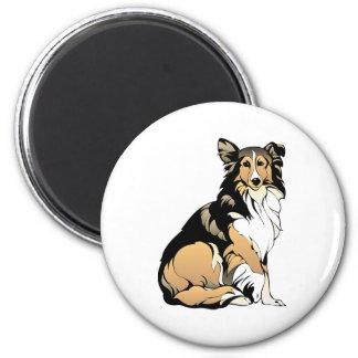 Collie-Hundezeichnen Runder Magnet 5,1 Cm
