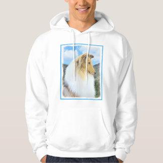 Collie in den Bergen (rau) malend - Hundekunst Hoodie