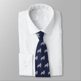 Collie-Silhouette-Muster-Marine-Blau Krawatten