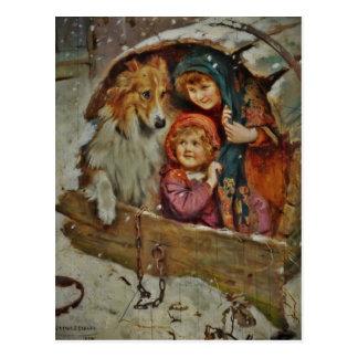 Collie und Kinder im Doghouse Postkarten
