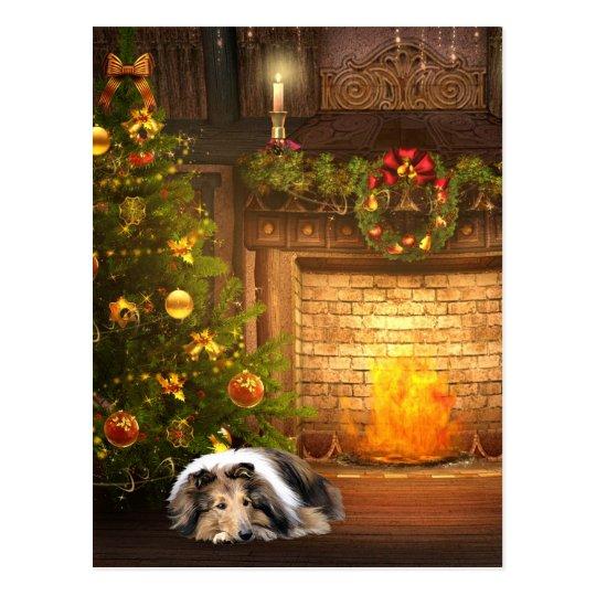 collie weihnachten postkarte zazzle. Black Bedroom Furniture Sets. Home Design Ideas