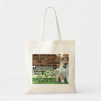 Colliehundewelpen-Tasche mit Zitat Tragetasche