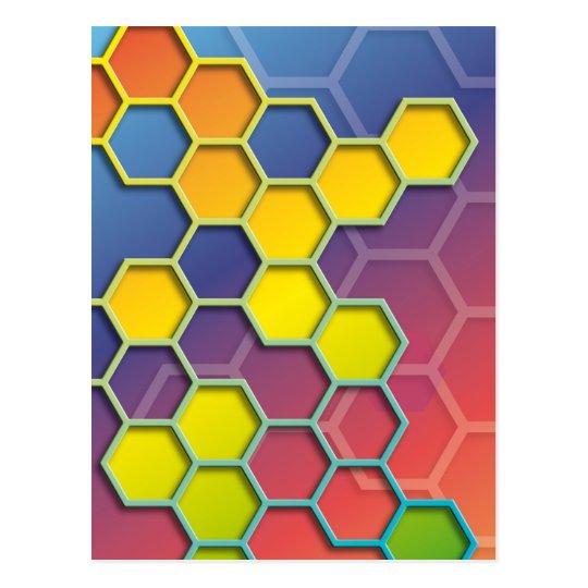 color graphic hexagon postkarte