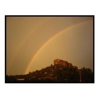 Colorado Castle Rock Double Rainbow Postcard Postkarte