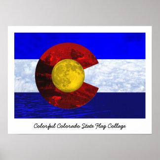 Colorado-Collagen-Kunst-Flagge Poster