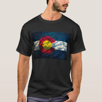 Colorado-Flagge Felsen-Berge T-Shirt
