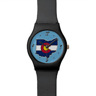 Colorado-Flagge Ohio-Konturarmbanduhr Uhr