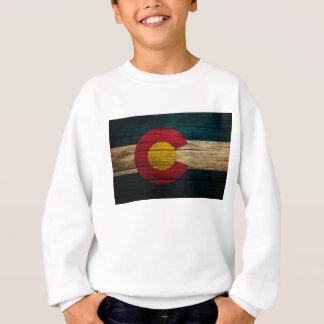 Colorado-Flaggen-rustikales altes Holz Sweatshirt