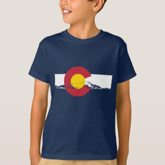 Colorado-Flaggen-T - Shirt - felsige Berge -