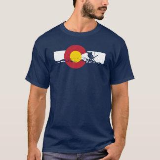 Colorado-Flaggen-T - Shirt - Skier - Eisen-Kreuz -