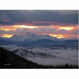 Colorado-Gebirgssonnenuntergang-Foto-Skulptur Fotofigur