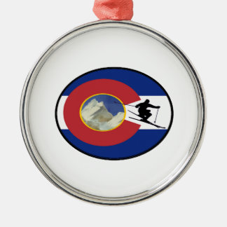 COLORADO-SKI-ZEIT SILBERNES ORNAMENT