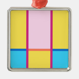 #ColorBlocks Sommer-Träumen Quadratisches Silberfarbenes Ornament