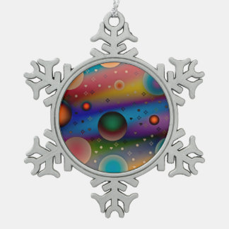 Colorful balls♥ schneeflocken Zinn-Ornament