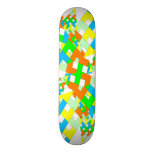 Colorful geometric style skateboard deck