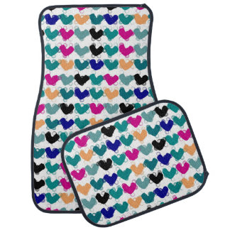 Colorful heart pattern, abstract auto fussmatte