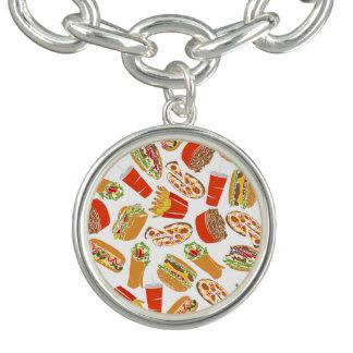 Colorful Pattern Illustration Fast Food Charm Armband