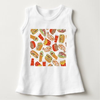 Colorful Pattern Illustration Fast Food Kleid