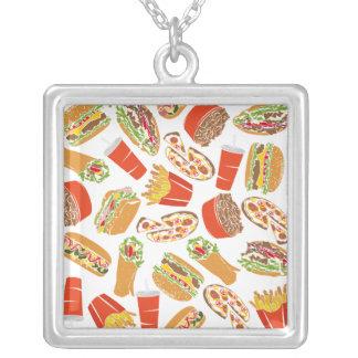 Colorful Pattern Illustration Fast Food Versilberte Kette