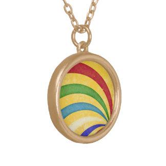 Colorful retro stripes halskette mit rundem anhänger