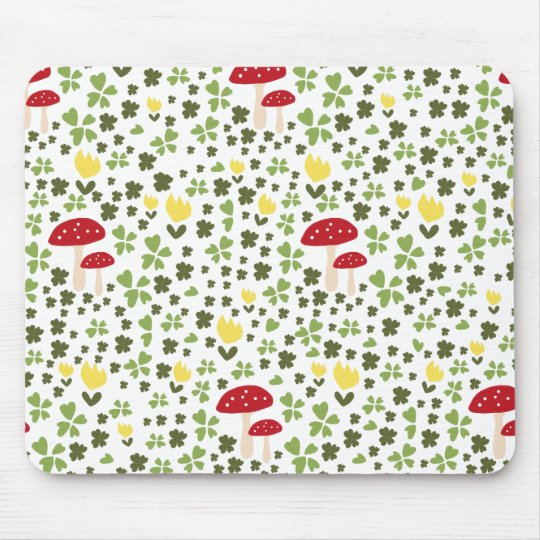 Colorful spring meadow with flowers and mushrooms mousepads