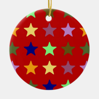 colorful Stars Rundes Keramik Ornament