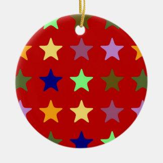 colorful Stars Rundes Keramik Ornament