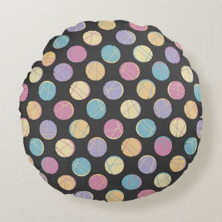 Colorful urban confetti dots modern pillow schick rundes kissen