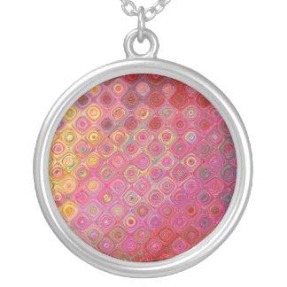 Colorfull künstlerische Retro Muster-Halskette Versilberte Kette