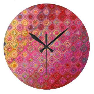 Colorfull künstlerisches Retro Muster-runde Uhr