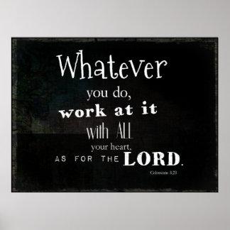 Colossians 3:23 Bibel-Vers, Schrifts-Kunst Poster