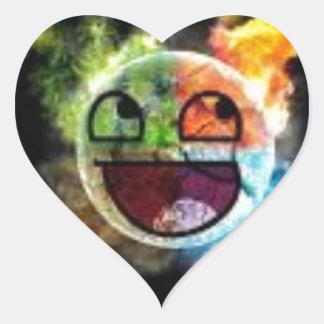 colourfull Gesicht Herz-Aufkleber