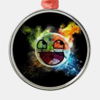 colourfull Gesicht Silbernes Ornament