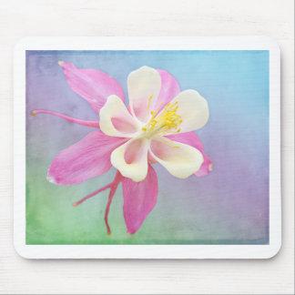 Columbine-Blumen-Rosa u. Weiß Mousepad