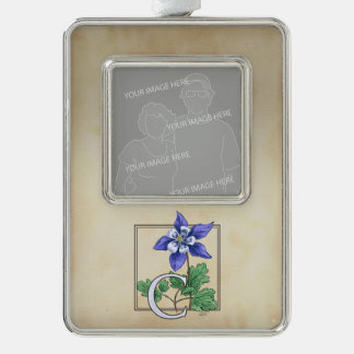 Columbinepersonalisiertes Blumenmonogramm Rahmen-Ornament Silber