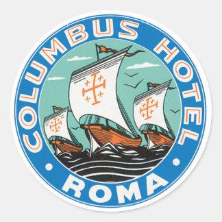 Columbus-Hotel Rom Runder Aufkleber