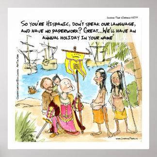 Columbus wandert zu lustigem Plakat Amerikas ein