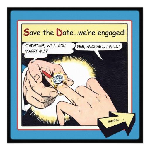 Comic-Art Bling Ring-Save the Date Blau Individuelle Einladungskarte