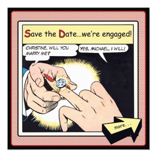 Comic-Art Bling Ring-Save the Date Rot Einladungen