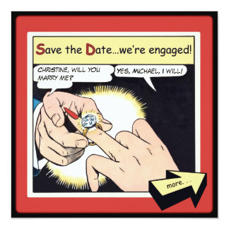 Comic-Art Bling Ring-Save the Date Rot Quadratische 13,3 Cm Einladungskarte