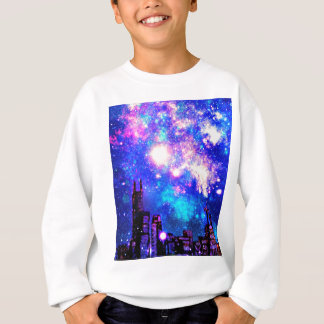 Comic-Art-Stadtskyline-u. Milchstraße-Nachthimmel Sweatshirt