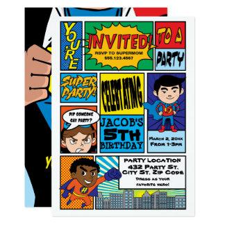 Comic-Artsuperhero-Geburtstags-Einladungen 12,7 X 17,8 Cm Einladungskarte