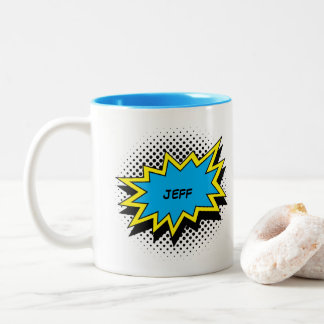 Comic-Buch-Art-buntes Namensblau Zweifarbige Tasse