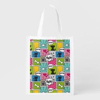 Comic-Buch-Art-Haustier-Muster Wiederverwendbare Einkaufstasche