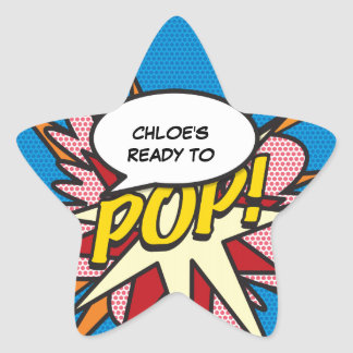 Comic-Buch bereit zum POP! Babyparty Stern-Aufkleber