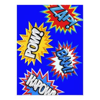 Comic-Buch-Explosions-Kriegsgefangen 3D ÄNDERN 14 X 19,5 Cm Einladungskarte