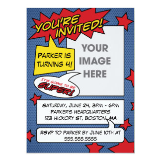 Comic-Buch-Geburtstags-Einladung 16,5 X 22,2 Cm Einladungskarte