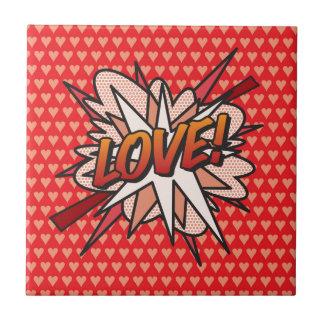 Comic-Buch-Pop Kunst LIEBE! Keramikfliese