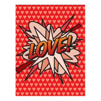 Comic-Buch-Pop-Kunst LIEBE! Postkarte